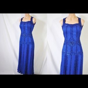 Vintage 80s Does 20 Style Formal Beaded Dress